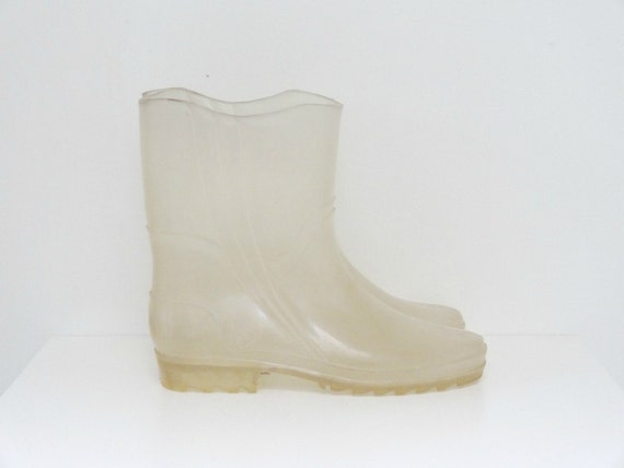 Clear Rubber Rain Boots Size 8 / 8.5