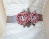 EXPRESS SHİPPİNG! Handcrafted Pink and Grey Two Flowers With Feathers Wedding Bridal Sash Belt