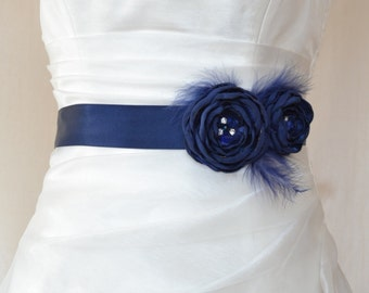 Handcraft Navy Blue Two Flowers With Feathers Wedding Bridal Sash Belt