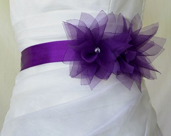 Handcraft Purple Lotus Bridal Wedding Dress Sash Belt