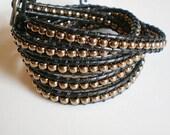 Hip Dad Gift 5X Bracelet Leather Wrap Coffee Brown Leather Czech Glass Bracelet