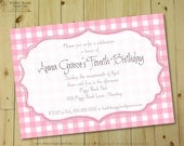 GIRLIE GINGHAM Invitation - Personalized DIY Printable Birthday, Baby or Bridal Shower Invite