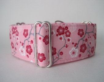 "Pink Martingale Collar, 1.5"" Martingale Collars, Cherry Blossom Martingale Collar, Pink Dog Collar, Sighthound Collar"