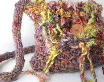 Hand Knit Multi Color Purse Wool Shoulder Bag