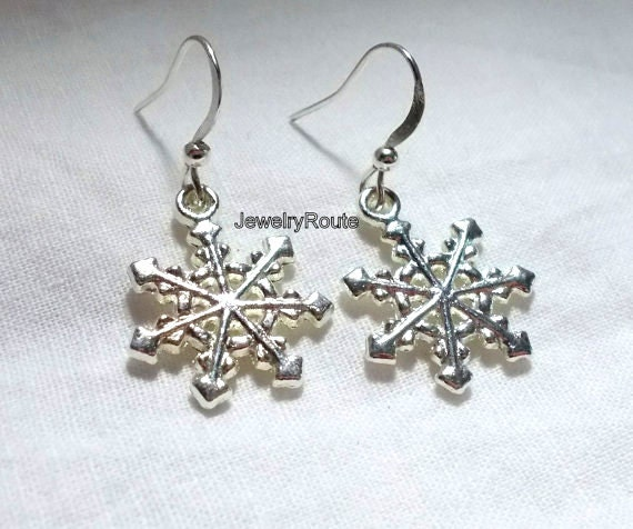 Reserved Bright Silver Metal Snowflakes Charms with Bright Silver Metal French Hook Earrings