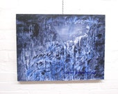 """Abstract painting, landscape, original mixed media, 18"""" x 24"""" abyss, gothic, home decor, gift giving, blue tones"""