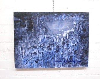 "Abstract painting, landscape, original mixed media, 18"" x 24"" abyss, gothic, home decor, gift giving, blue tones"