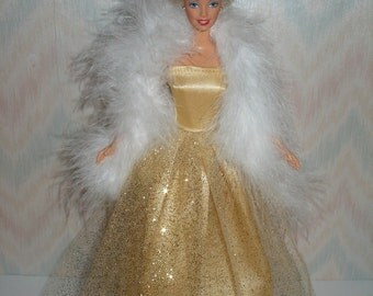 Handmade Barbie doll clothes - Gold satin and glitter tulle gown with boa