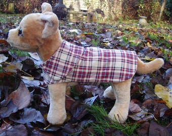 Dog Jacket - Rust and Cream Plaid Corduroy Coat- Size XX Small- 8 to 10 Inch Back Length
