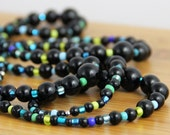 OUT OF TOWN - Blue Green Gradient - Colorful Royal Blue Teal Lime Green Black Graduated Beaded Necklace - Long Necklace Versatile