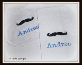 Mustache Personalized baby bib and burp set