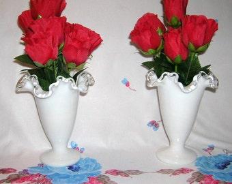2 Vintage Fenton Milk Glass Vases in the Silvercrest Silver Crest Pattern