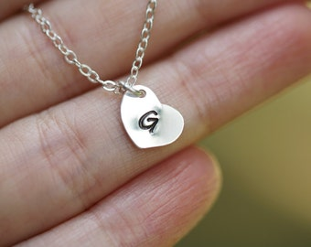 Heart initial sterling silver necklace,Bridesmaid gifts,Bridesmaid gifts,Flower girl gift,Bridal jewelry,hand stamped initial charm