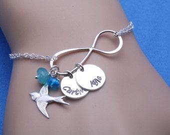 Name plate bracelet,infinity bird bracelet,name disc bracelet,custom initial birthstone,Mother bracelet,Nana grandma gift,Monogram bracelet