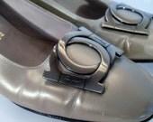 Vintage Salvatore Ferragamo shoes - Bronze Slip Ons - Women's shoe 8 narrow