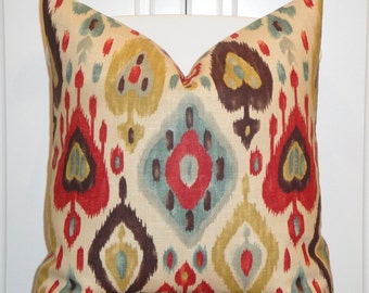 DOUBLE SIDED Or Print on Front only -  IKAT Decorative Pillow Cover - Red - Brown - Gold - Teal Blue