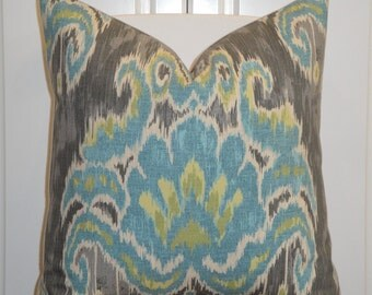 Decorative Pillow Cover - Teal Blue - Kiwi Green - Tashkent IKAT Pillow - Gray - sofa Pillow - Chair Pillow