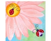 Nursery Art for Baby Girl, LITTLE LOVE BUGS, 12 x12 Painting, Pink Girls Room Decor