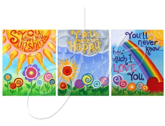 CUSTOM Kids Wall Art, YOU Are My SUNSHINE, 11x14 Painting Set of 3, Girls Nursery Art