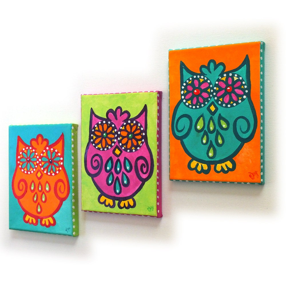 Whimsical wall art 3 funky owls set 3 5x7 canvas paintings for Funky wall art