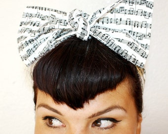 Vintage Inspired Head Scarf, Bow or Bandanna Style, Musical Notes
