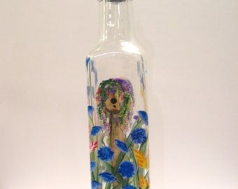 Hand Painted Glass Pour Bottle, Liquid Soap, Oil, Vinegar  w/ Birdhouses and Bluebirds Wild Flowers Orange Purple Yellow Pink Blue and Green