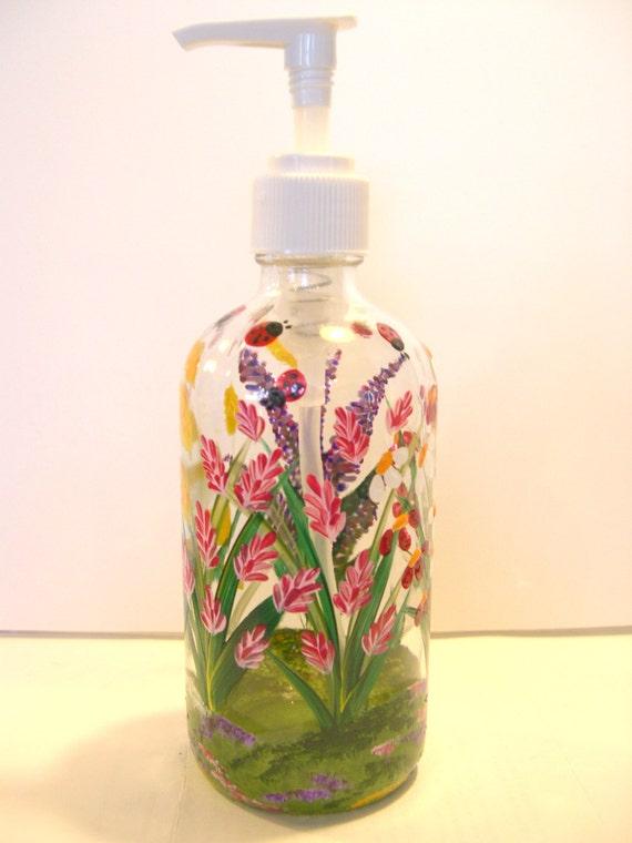 Hand Painted Glass Liquid Soap Lotion Dispenser Bottle Hand