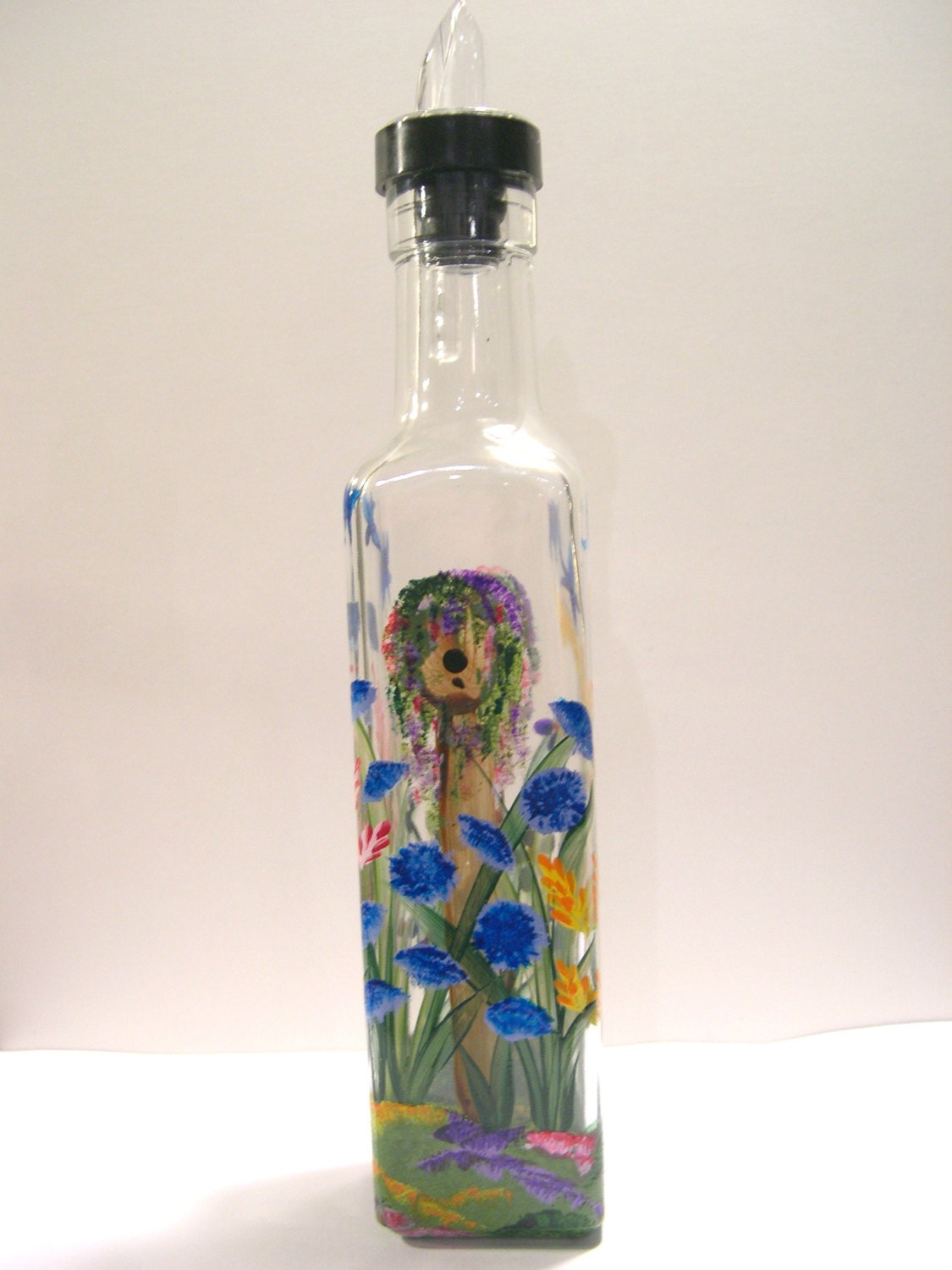 Hand painted glass pour bottle liquid soap oil vinegar w for Hand painted glass bottles