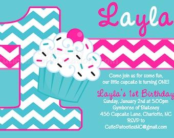 Cupcake Birthday Invitation - Chevron Birthday Invitation - 1st Birthday Invitations for Girls