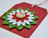 holiday gift tags red gift tags christmas gift tags with felt flower handmade holiday tags