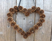 Instant Download Wall Decor DIY Heart Shaped Pine Cone Wreath Make Your Own Rustic Wedding Indoor Wreath, Pine Cone Wedding, Pine Cone Decor