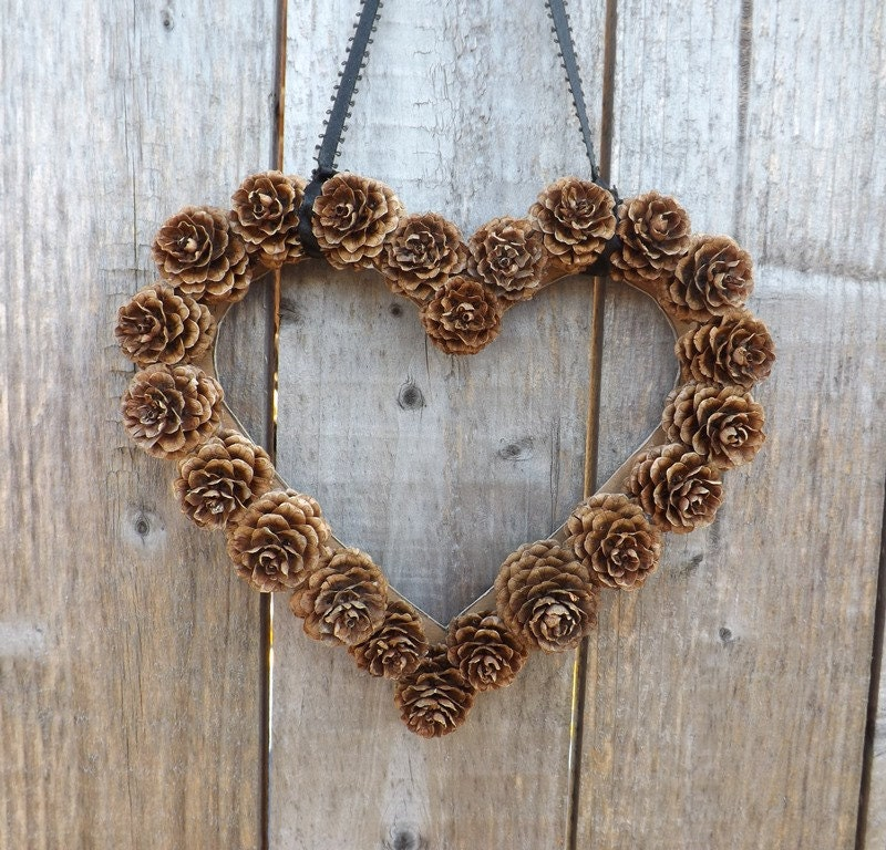 Instant download wall decor diy heart shaped pine cone wreath - Heart wall decoration ...