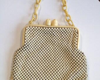 Pale Yellow Metal and Bakelite Handbag