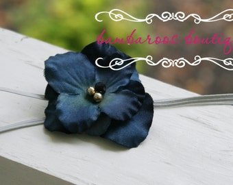 baby girl headband on skinny elastic, Newborn Headband, Baby Headband, dark teal headband