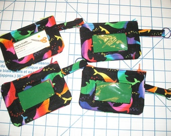Dolphin Fabric Coin Purse with Vinyl See Through Window and Key Loop - Zipper Closure