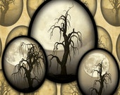 Dead Trees and Full Moons in Sepia- Halloween Digital Collage Sheet 30mm x 40mm Ovals-- Instant Download