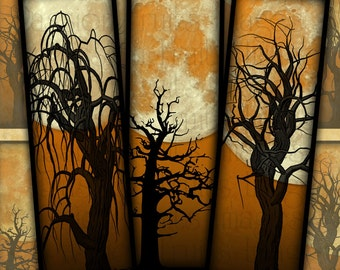 Dead Trees and Full Moons On Sunset Orange Skies-- Halloween Digital Collage Sheet 1x3 Slides-- Instant Download