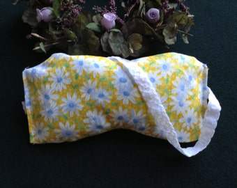 Sleep Mask, Yoga Mask, Eye Pillow, UNSCENTED, Yellow Daisies, Individually Handmade