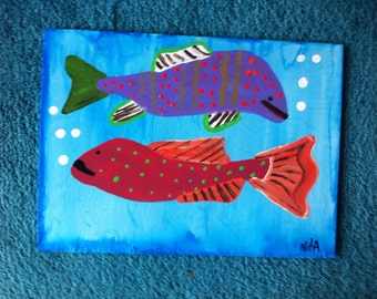 2 FISH TWO original folk art painting Marked 1/2 off sale
