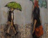 Umbrella Policy -  ABSTRACT FIGURE PORTRAIT Giclee print from my original oil painting
