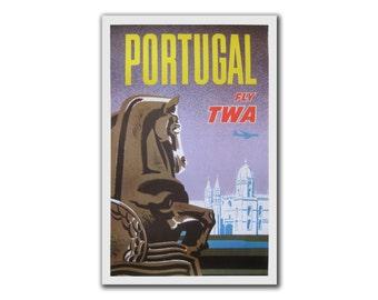 David Klein PORTUGAL TWA poster pro LINEN Backed original