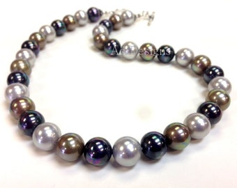 Gift for Her AA Grade South Sea Shell Pearl Necklace with .925 Sterling Silver - Made in USA Ship within 24 hr.
