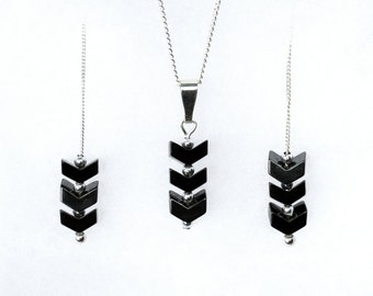 Jewelry Gift Set, Hematite, Chevron Necklace Chevron Earrings, Handmade Necklace and Earrings