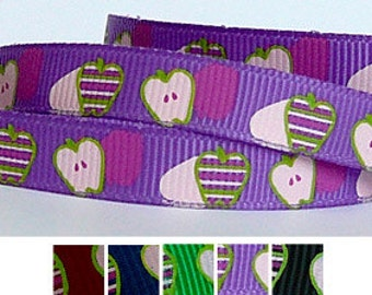 5 Yards APPLES on Purple 3/8 Grosgrain Ribbon (other colors also available)