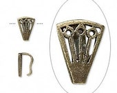 10pcs Bail Pendant  Antiqued Brass Pewter 8x6x5mm Fan