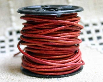 2mm Leather Cord - Natural Red - 6 Feet Premium Quality Round Cording