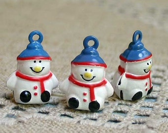 3pcs Jingle Bell Snowman Charms Brass Enamel 20mm Christmas Decor