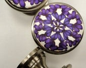 8 Cabinet Knobs /Cabinet Pulls Violet  Purple White    Metal and Polymer  Clay