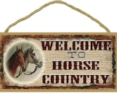 "Welcome To HORSE COUNTRY Cowboy Cowgirl Equestrian Western Ranch Decor Wall 5"" x 10"" SIGN Plaque"
