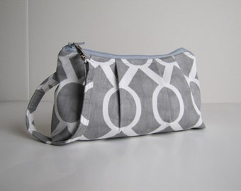 Bridesmaid Gift,  Wristlet Clutch  Zipper Pouch, Bridesmaid Clutch  -Sydney Ash Grey